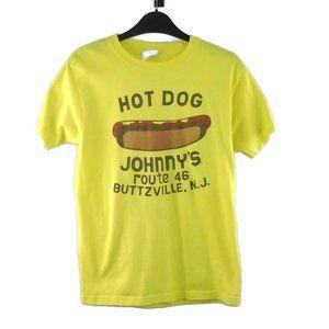 VTG Hot Dog Johnny's Buttzville NJ Shirt Yellow S
